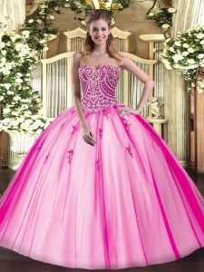 Fashionable Sweetheart Sleeveless Sweet 16 Quinceanera Dress Floor Length Beading Hot Pink Tulle