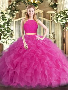 Hot Pink Scoop Zipper Ruffles Vestidos de Quinceanera Sleeveless