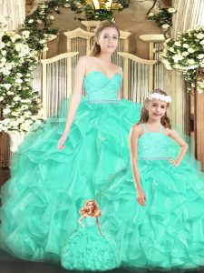 Decent Apple Green Lace Up 15 Quinceanera Dress Lace and Ruffles Sleeveless Floor Length