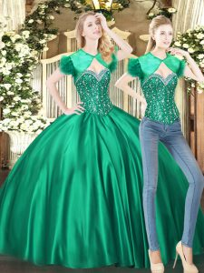Most Popular Sweetheart Sleeveless Lace Up Sweet 16 Dress Green Tulle