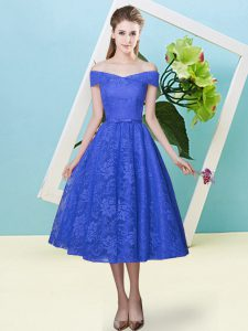 Lace Cap Sleeves Tea Length Dama Dress and Bowknot