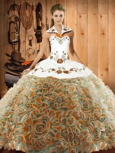 Captivating Sleeveless Fabric With Rolling Flowers Sweep Train Lace Up Quinceanera Gown in Multi-color with Embroidery