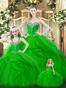 Custom Design Green Organza Lace Up Sweetheart Sleeveless Floor Length Quinceanera Dresses Beading and Ruffles