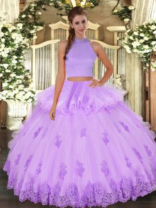 Fancy Halter Top Sleeveless Backless Quinceanera Dress Lavender Tulle