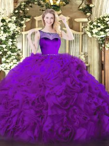 Clearance Eggplant Purple Ball Gowns Fabric With Rolling Flowers Scoop Sleeveless Beading Floor Length Zipper Sweet 16 Dresses