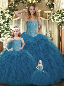 Unique Sleeveless Beading and Ruffles Lace Up 15th Birthday Dress