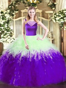 Fantastic Sleeveless Side Zipper Floor Length Beading and Ruffles Quinceanera Gown