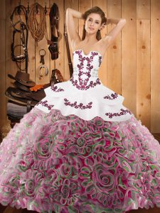 On Sale Multi-color Ball Gowns Strapless Sleeveless Satin and Fabric With Rolling Flowers With Train Sweep Train Lace Up Embroidery 15th Birthday Dress