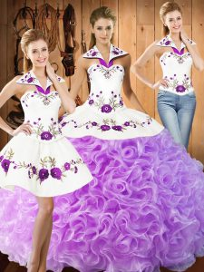 Lilac Three Pieces Fabric With Rolling Flowers Halter Top Sleeveless Embroidery Floor Length Lace Up Quinceanera Dresses