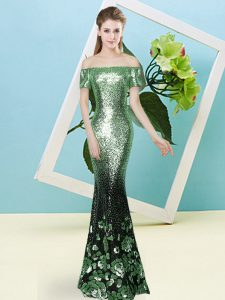 Best Apple Green Zipper Off The Shoulder Sequins Dress for Prom Sequined Short Sleeves