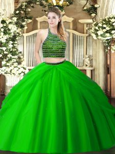 Sleeveless Zipper Floor Length Beading and Ruching Quince Ball Gowns