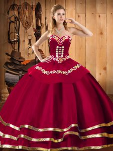 Red Ball Gowns Sweetheart Sleeveless Organza Floor Length Lace Up Embroidery Ball Gown Prom Dress