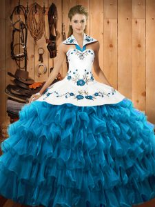 Wonderful Teal Lace Up Halter Top Embroidery and Ruffled Layers Quinceanera Dresses Organza Sleeveless