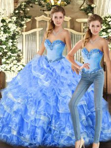 Glorious Baby Blue and Light Blue Sleeveless Floor Length Beading and Ruffles Lace Up Quinceanera Dress