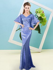 Floor Length Blue Evening Dress Sequined Half Sleeves Sequins