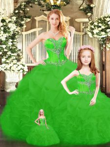 Ball Gowns Beading and Ruffles Quince Ball Gowns Lace Up Tulle Sleeveless Floor Length