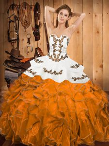 Dramatic Floor Length Lace Up Sweet 16 Quinceanera Dress Orange for Military Ball and Sweet 16 and Quinceanera with Embroidery and Ruffles