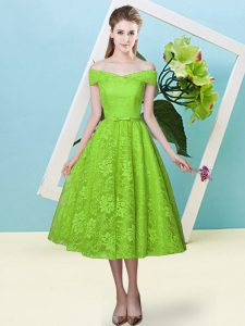 Flirting Tea Length Lace Up Quinceanera Court Dresses Yellow Green for Prom and Party and Wedding Party with Bowknot