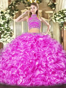 Tulle High-neck Sleeveless Backless Beading and Ruffles Quinceanera Gowns in Lilac