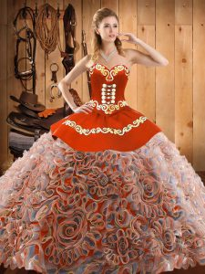 High Quality Multi-color Sleeveless Sweep Train Embroidery With Train Sweet 16 Dress
