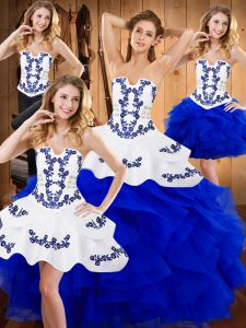 Exceptional Satin and Organza Sleeveless Floor Length Sweet 16 Dress and Embroidery and Ruffles