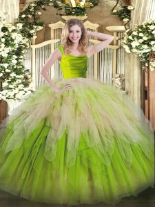Luxury Ruffles Quince Ball Gowns Multi-color Zipper Sleeveless Floor Length