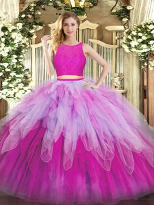 Organza Scoop Sleeveless Zipper Lace and Ruffles Quinceanera Gown in Fuchsia