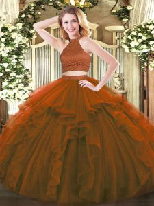 Amazing Floor Length Two Pieces Sleeveless Brown Quinceanera Gowns Backless
