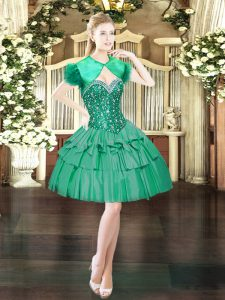 Flirting Dark Green Sleeveless Mini Length Beading Lace Up Homecoming Dress