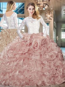 Long Sleeves Lace and Fading Color Brush Train Lace Up Sweet 16 Dresses in Pink And White with Lace and Ruffles
