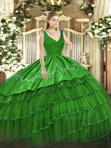 Vintage Sleeveless Floor Length Beading and Lace and Embroidery and Ruffled Layers Backless Quinceanera Gowns with Green