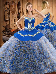 Sleeveless Sweep Train Lace Up Embroidery Ball Gown Prom Dress