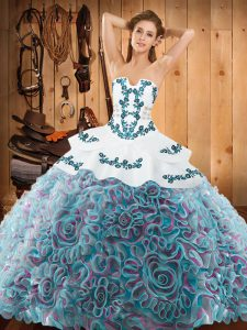 Excellent Strapless Sleeveless Satin and Fabric With Rolling Flowers Quinceanera Gowns Embroidery Sweep Train Lace Up