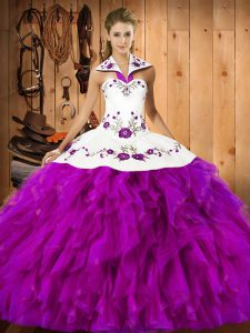 Glorious Floor Length Lace Up Quinceanera Dress Fuchsia for Military Ball and Sweet 16 and Quinceanera with Embroidery and Ruffles