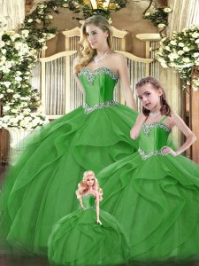 Cheap Floor Length Lace Up 15th Birthday Dress Green for Military Ball and Sweet 16 and Quinceanera with Ruffles