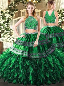 Chic Floor Length Dark Green Sweet 16 Quinceanera Dress Tulle Sleeveless Beading and Ruffles