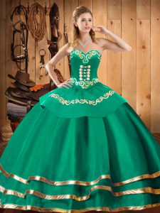 Sophisticated Turquoise Ball Gowns Organza Sweetheart Sleeveless Embroidery Floor Length Lace Up 15th Birthday Dress
