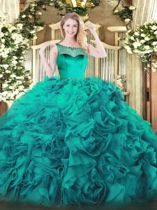 Elegant Floor Length Zipper 15th Birthday Dress Teal for Sweet 16 and Quinceanera with Beading and Ruffles