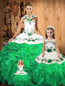 Stunning Tulle Sleeveless Floor Length Sweet 16 Dress and Embroidery and Ruffles and Bowknot