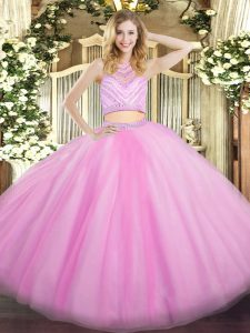 Dynamic High-neck Sleeveless Sweet 16 Dress Floor Length Beading and Ruffles Lilac Tulle