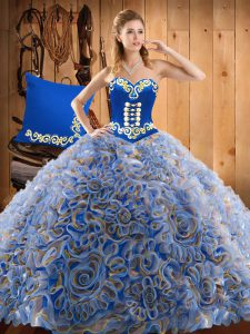Low Price Sleeveless Sweep Train Embroidery Lace Up Quince Ball Gowns