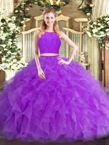 Sleeveless Tulle Floor Length Zipper Quinceanera Gown in Eggplant Purple with Ruffles