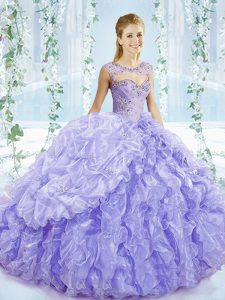 Pretty Sleeveless Organza Brush Train Lace Up Sweet 16 Dresses in Lavender with Beading and Ruffles and Pick Ups