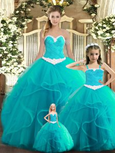 Stunning Sleeveless Tulle Floor Length Lace Up Sweet 16 Dresses in Aqua Blue with Ruffles