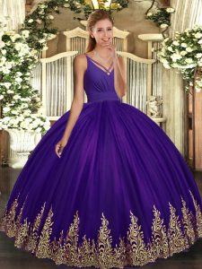 Purple Sleeveless Floor Length Appliques Backless Quinceanera Dress