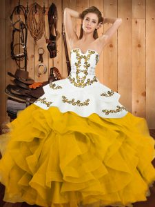 Yellow And White Satin and Organza Lace Up Ball Gown Prom Dress Sleeveless Floor Length Embroidery and Ruffles