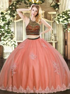 New Arrival Floor Length Coral Red Quinceanera Dress Halter Top Sleeveless Zipper