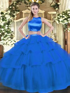 Romantic Blue Sleeveless Ruffled Layers Floor Length Quince Ball Gowns