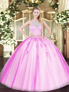 Sleeveless Floor Length Lace and Appliques Zipper Quince Ball Gowns with Fuchsia