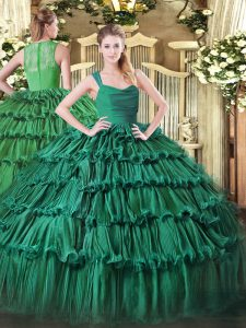 Great Sleeveless Organza Floor Length Zipper Quince Ball Gowns in Green with Ruffled Layers